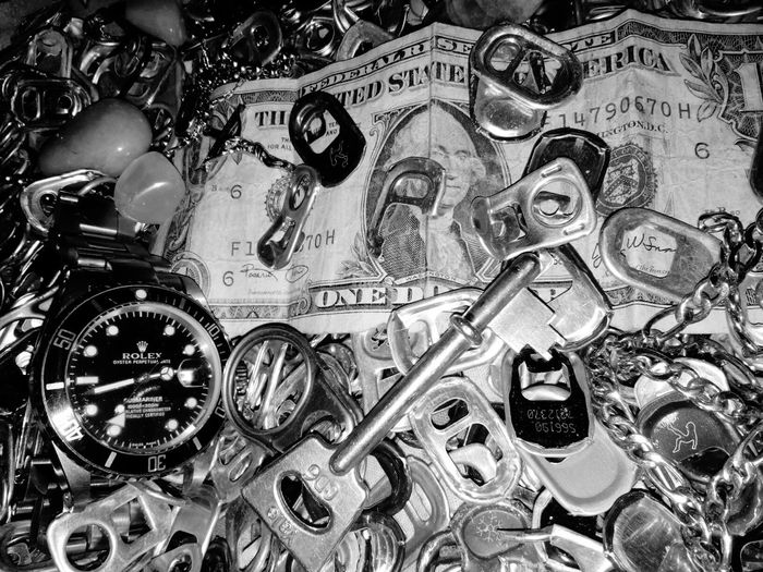 Materials Materialism Watch Keyz Chain Link Tinfoil Tops Recycled Materials Dollar Bill Close-up No People Large Group Of Objects EyeEm Best Shots - Black + White LSFphghy