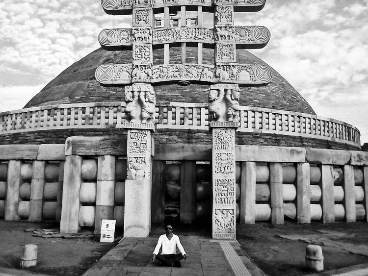 Buddhist Temple Buddha Sanchi Stupa India Pease Historical Monuments Blackandwhite Shrine Ancient Architecture Clouds And Sky Self Portrait Around The World EyeEm Nature Lover Architecture Picturing Individuality Landscape Ancient Monument History Tadaa Community EyeEm Best Shots Eyeem Popular Photos Eye4photography  Travelling Getting Creative Pattern Pieces