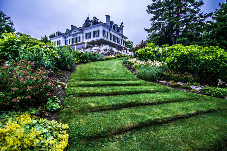 Architecture Built Structure Day Edith Wharton Estate Formal Garden Grass Grass Stairs Green Green Color the mount Hedge Lawn Lush Foliage Nature No People Outdoors Overcast But Beautiful Park Plant Sky The Way Forward Tourism Travel Destinations Tree Walkway