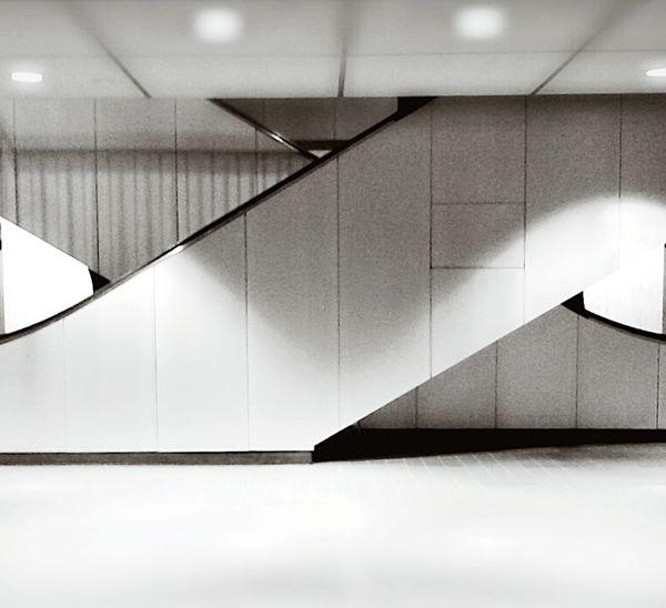 Black And White Schwarzweiß Svartvitt Stairs Treppe Escalator Architecture Urban Architecture Finanzamt Financiers Only thecleaning crew remains inside at this hour. Financial District, Portland Oregon