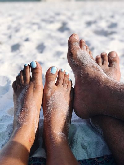 Low section of couple at beach
