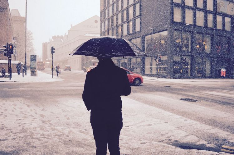 City Life Filtered Image Glasgow  Holding Lifestyles Men Observingpeople Real People Rear View Smart Snow Day Standing Town Umbrella Walking Scotland Long Day Winter Wonderland Walking Around City Snow Winter