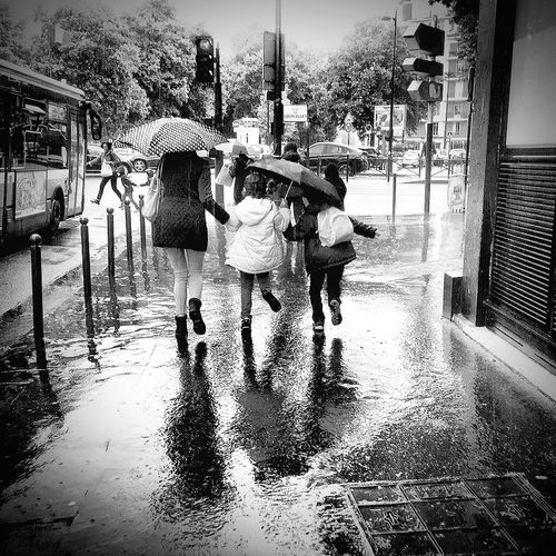 Runing Under Rain in Black & White