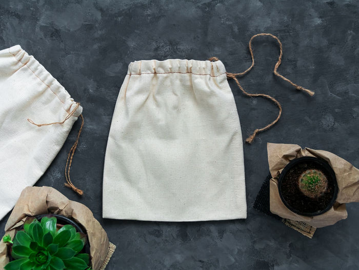 Reusable cotton eco bag mockup plastic free shopping canvas fabric  package template. zero waste.