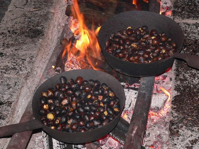 roasted chestnuts during a popular festival Barbecue Grill Burning Chestnuts Close-up Coal Day Flame Food Food And Drink Freshness Grilled Heat - Temperature No People Outdoors Ready-to-eat Roasted Chestnuts EyeEmNewHere The Street Photographer - 2017 EyeEm Awards