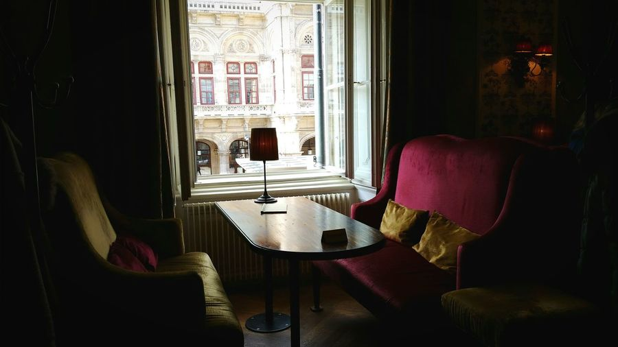 Cafe Bakery Cafe Window Indoors  Chair No People Seat Day Shadows Vienna Austria Window View Old-fashioned Cosy