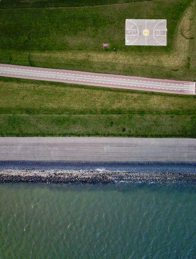 Coastline with basketball court