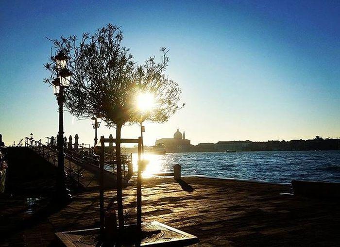 """""""Here I stand staring at the sun"""" Venice Zattere Giudecca Cfz Sun Sunshine Blusky Beautifulveiw Contrasti Controluce Cafoscari Cafoscarizattere"""