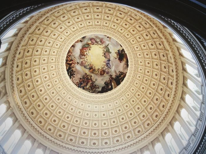 Government Architecture Indoors  Built Structure Dome Ceiling History Low Angle View
