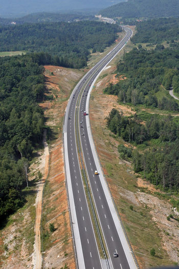 Aerial view of highway on landscape