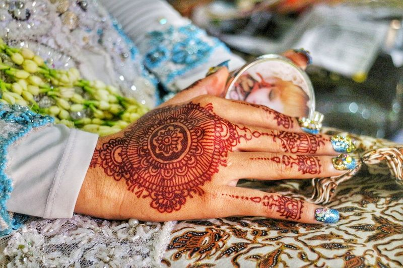 Cultures Celebration Tradition Life Events Close-up Religion Women Human Hand Human Body Part Wedding Traditional Clothing Wedding Ceremony Adults Only Real People Indoors  Adult One Person Day People Bodypainting Painted Hands My Year My View