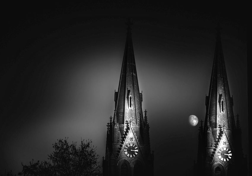 Prague VI EyeEm Best Shots Black And White Mood Place of Heart EyeEm Nature Lover EyeEmBestPics Prague Contrast Dream Church Cathedral Prague Czech Republic EyeEm Selects darkness and light Black And White Moon Moonlight Tree Place Of Worship Cityscape Sky Building Exterior Built Structure