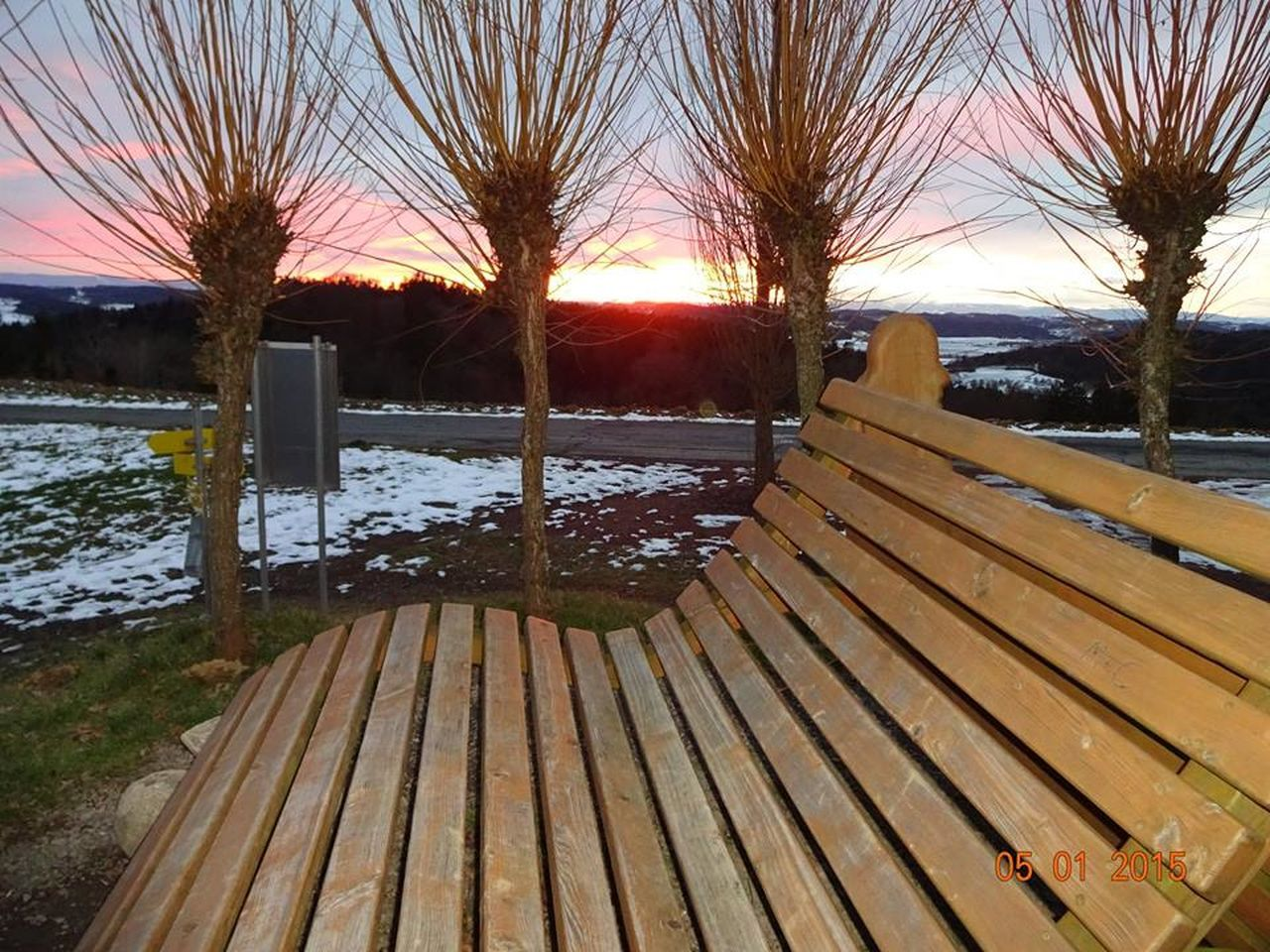 tree, wood - material, no people, outdoors, sunset, nature, tranquility, cold temperature, winter, water, bare tree, snow, day, beauty in nature, scenics, sky, close-up