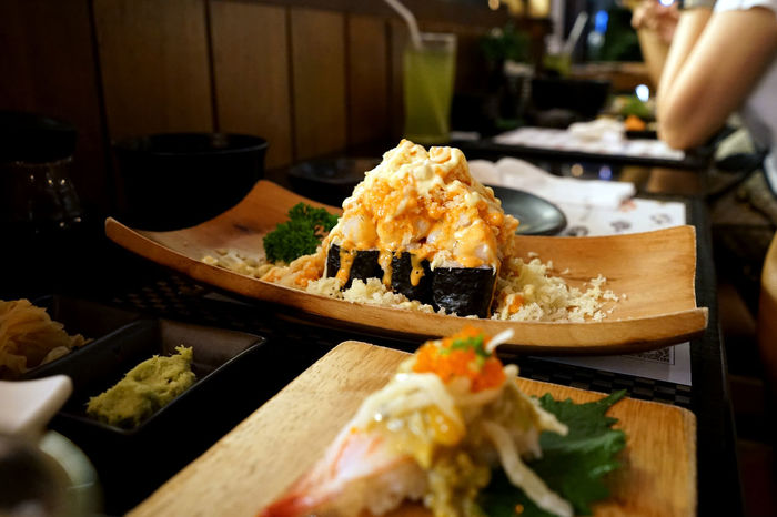 Japanese food in japanese restaurant & bar Bar Cuisine Delicious Dinner Fish Food Food And Drink Foodphotography Fresh Gourmet Healthy Japanese Culture Japanese Food Lifestyle Lunch Meal Oriental Party Raw Sasimi Seaweed Sushi Table Traidtional Wood Plates