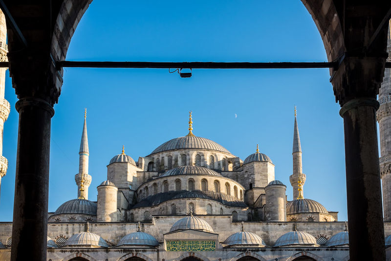 Blue mosque against clear blue sky