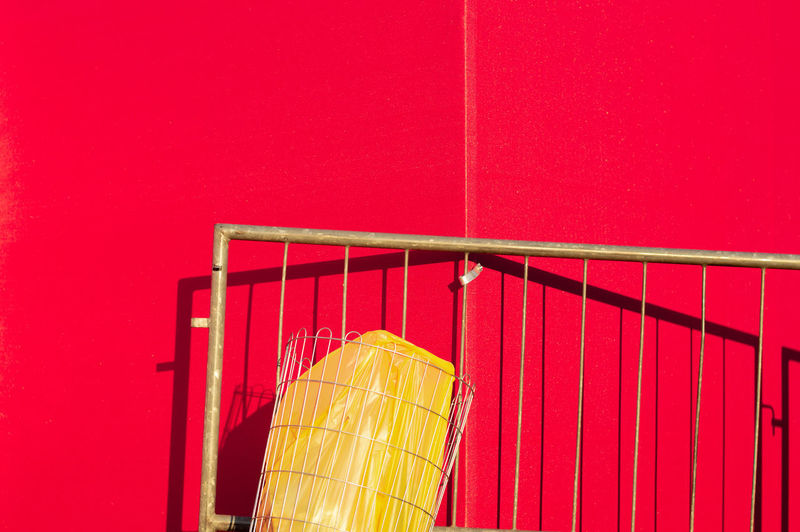StillLifePhotography Still Life Red Yellow Geometry Geometric Shape Urban Urban Geometry Light And Shadow Harsh Light Lines And Shapes Lines No People Architecture Wall - Building Feature Built Structure Copy Space Day Metal Vibrant Color Low Angle View Pattern Close-up Outdoors 17.62° The Creative - 2019 EyeEm Awards