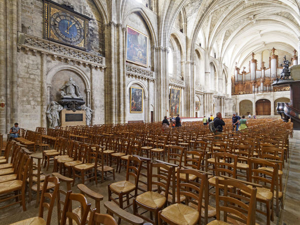 Gothic Cathedral Saint-André Bordeaux France Aisle Arch Arches Architecture Arts Bordeaux Cathedral Chair Church Columns Europe France Bordeaux France Gothic Historical Building Inside View Medieval Organic Paintings Point Of Interest Religion Saint-André Tourists Travel Destinations Visitors Wooden Chairs