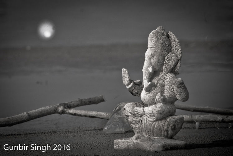 Day Focus On Foreground Ganesha Gunbir Hindu Gods Moon Lite  Night Photography Outdoors Selective Focus Selective Lighting Sky Tranquility