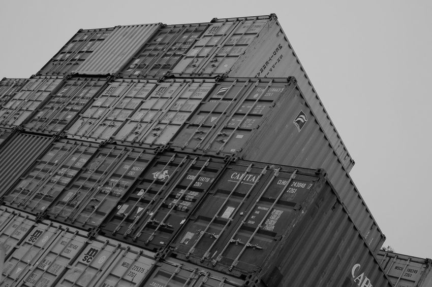 Black & White Black And White Blackandwhite Blackandwhite Photography Industrial Low Angle View Shipping Containers Transport Xseries Xt1