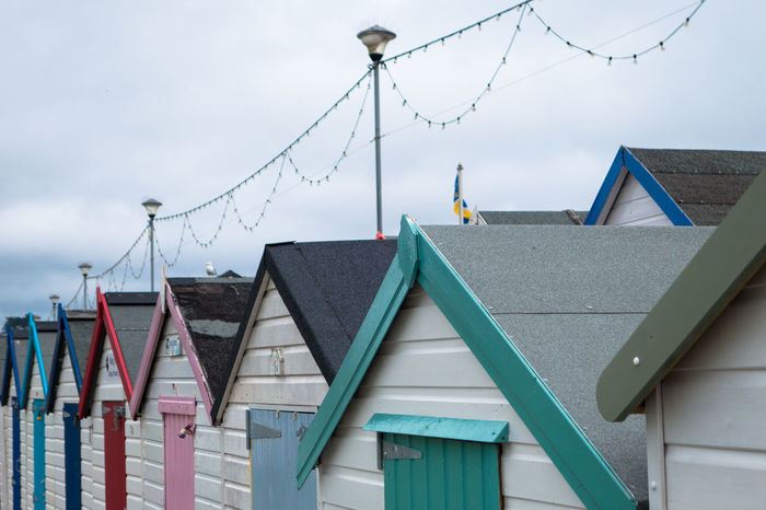Architecture Beach Huts Beach Huts And Sky Building Exterior Built Structure Cloud - Sky Colour Colourful Day Doors Huts Lights Multi Colored No People Outdoors Paignton Paignton Beach Roof Seaside Seaside_collection Sky Sky And Clouds Tourist Paignton Close-up