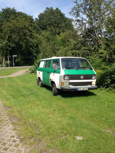 Grass Green Land Vehicle Mode Of Transport No People Non-urban Scene Old Police Car Outdoors