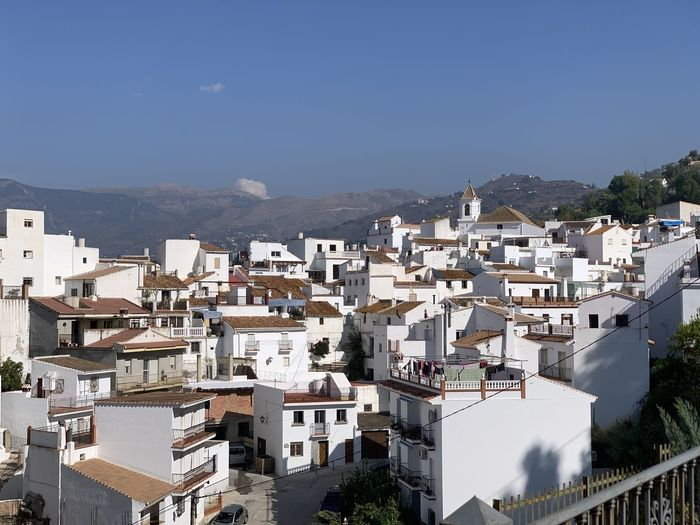 Rooftops of white village of sayalonga in the axarquía region of southern spain.