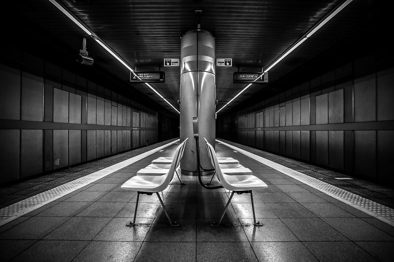 Empty train station in Kyoto. EyeEm Best Shots Public Transportation Architecture Blackandwhite Ceiling Day Empty Illuminated Indoors  Kyoto Monochrome No People Public Places Rail Transportation Railroad Station Streetphotography Transportation Urban Black And White Friday Black And White Friday Stories From The City
