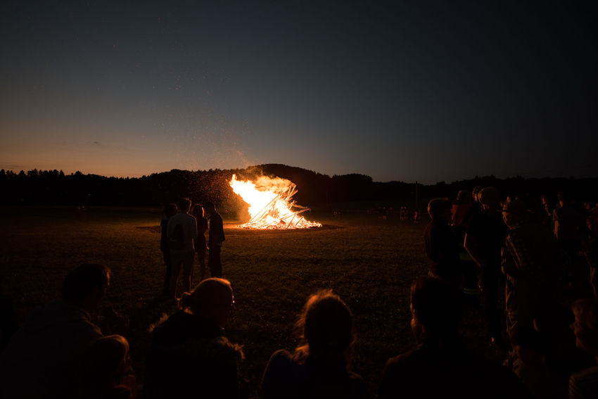 Germany Nikon D810 Zeiss Distagon 2.8/15 ZE Bavaria Sonnwendfeier Sonnwendfeuer Bonfire Burning Fire Flame Heat - Temperature Night Outdoors Silhouette