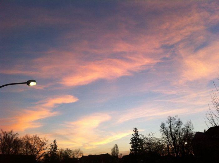 Sonnenaufgang in Berlin Himmel Lila Wolken. Auf dem Weg zur Arbeit.