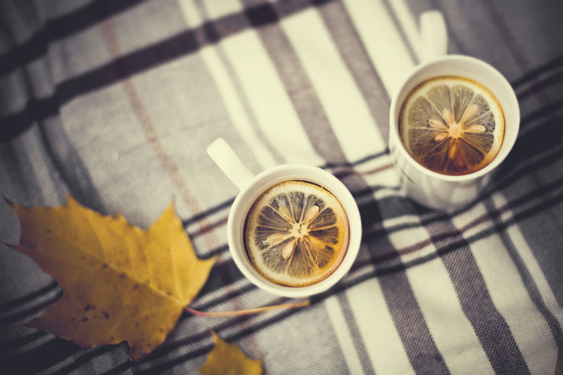 Two cups with tea and lemon on a blanket in the park