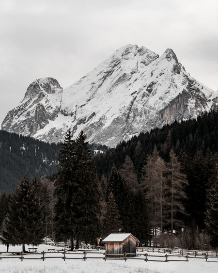 Cabin Peak Mountain Snow Winter Cold Temperature Tree Scenics - Nature Beauty In Nature Sky Nature Snowcapped Mountain Plant Day Tranquil Scene Environment Non-urban Scene Mountain Range Covering Architecture Tranquility No People Outdoors Mountain Peak