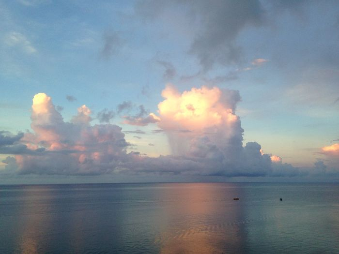 Morning Ocean View Clouds Water Sky Boats