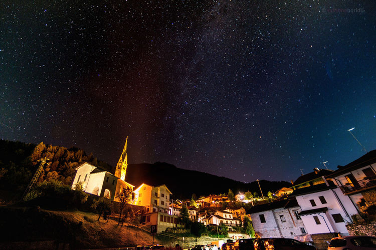 Wide angle view of Milky way in a little village of Italy (Servo di Sovramonte) Church Night Lights Nightphotography Italy Landscape Milkway Milky Way Night Outdoors Sky Stars Village View Wide Angle View
