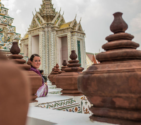 Bangkok Thailand Architecture Building Exterior Built Structure Day History Human Hand Human Representation Lifestyles Low Angle View One Person Outdoors Place Of Worship Real People Religion Sculpture Sky Spirituality Statue Travel Destinations Watarun