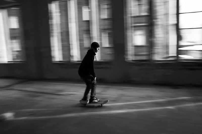 Abandoned Places Industrial Skateboarding Abandoned Abandoned Buildings Architecture Blurred Motion Industrial Landscapes Lifestyles Motion Old Buildings People Real People Riding