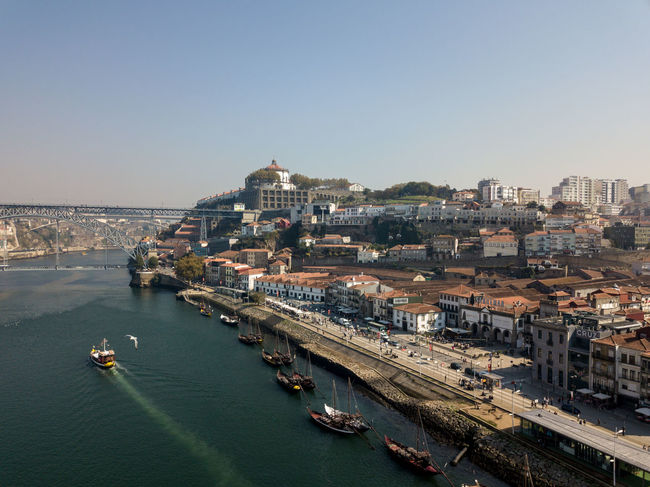Porto Architecture Bridge Building Exterior Built Structure Cityscape Clear Sky Day High Angle View Nature Nautical Vessel Outdoors Sea Sky Transportation Water