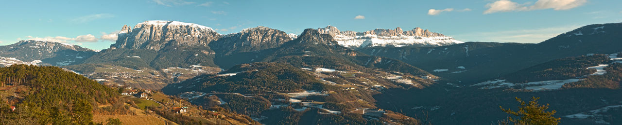 panorama ritten-renon Beautiful Dolomites, Italy Panoramic View Ritten Schlern/Rosengarten Trees Blue Sky Blue Sky And Clouds Forest Italy Landscape Meadow Mountains And Valleys Renon Snow South Tirol Winter Wonderland