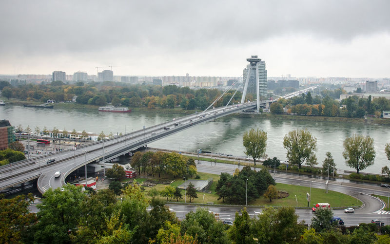 Most SNP Architecture Bratislava Bridge - Man Made Structure Built Structure City Cloudy Connection Danube Day Most Snp No People Outdoors River Sky Slovakia Suspension Bridge Transportation Travel Destinations Tree