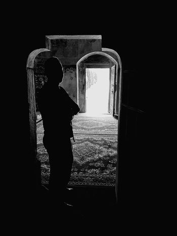 Silhouette Man Silhouette Door Doors Blackandwhite Black And White Blackandwhite Photography Monochrome Monochrome Photography Lights And Shadows Man Portrait Dark Darkness And Light Old Church Inside Church Black And White Friday