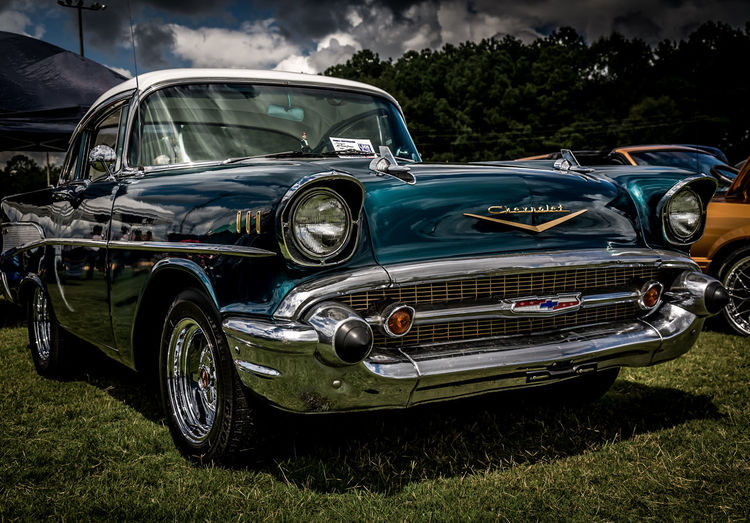 Beautiful '57 Bel-Air with Dramatic Sky '57 Chevy Car Chevrolet Close-up Day Destruction Deterioration Dirty Full Frame Headlight Land Vehicle Mode Of Transport No People Obsolete Old-fashioned Part Of Retro Styled Shiny Stationary Transportation Vintage