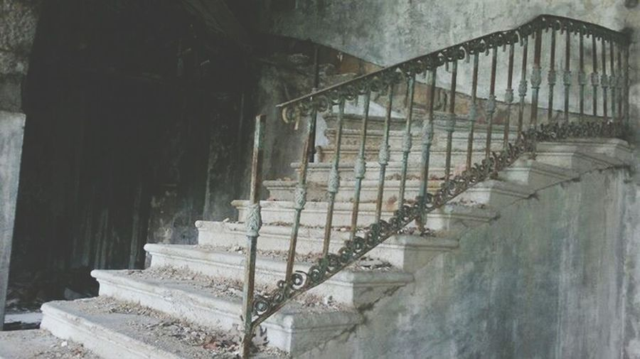 Stairs in an Abandoned house. Eerie Abandoned Buildings