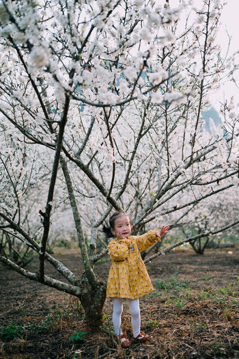 Portrait of a cute baby girl standing with plum blossom tree