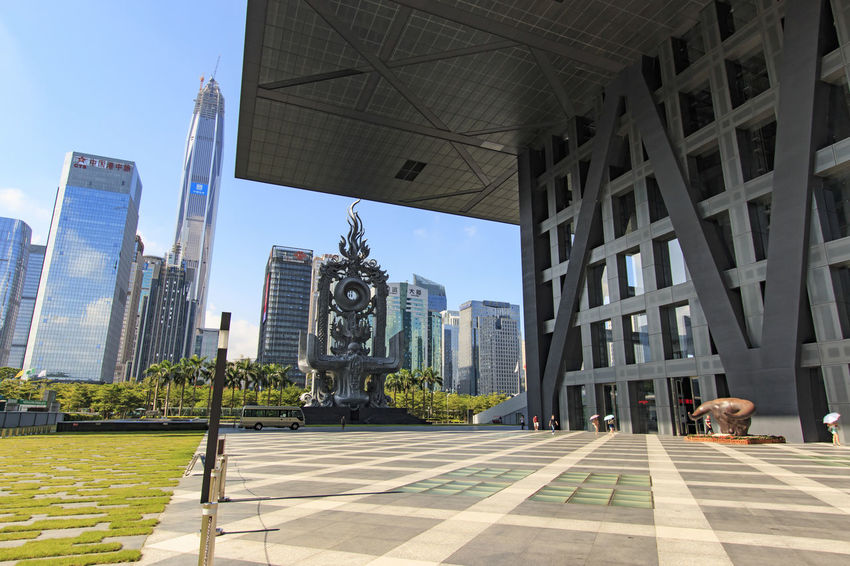 Shenzhen, China - August 19,2015: Shenzhen skyline as seen from the Stock Exchange building with the Ping An IFC, the tallest building of the city, on background Architecture ASIA Building Building Exterior Built Structure Bull China City City Life Crisis Day Economy Financial Guandong City Hong Kong Modern Office Building Ping An Ifc Shanghai Shenzhen Shenzhen.China Sky Stock Market Stockexchange Sunlight
