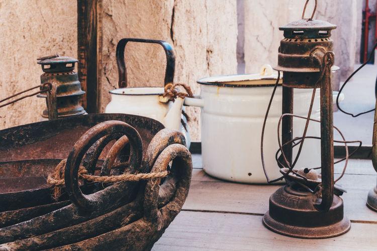 Vintage retro kitchen utensils and pots