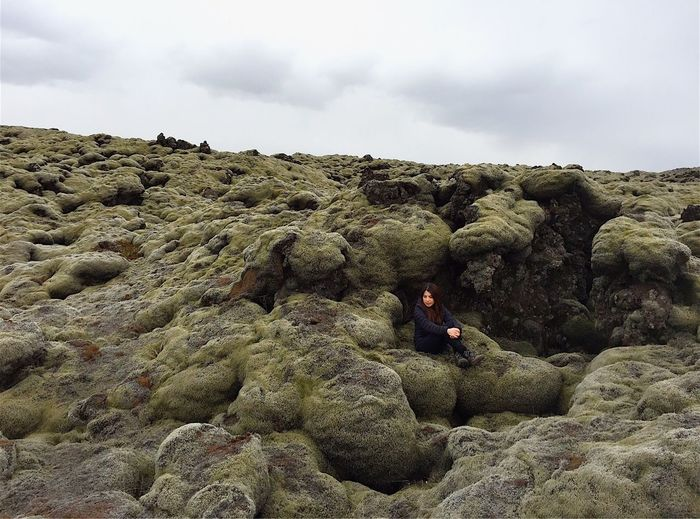Full Length Rock - Object Geology Nature Non-urban Scene Hiking Adventure Outdoors Landscape Beauty In Nature Day One Person Scenics Men Real People Challenge Sky Young Adult Adult People Lava Field Iceland The Secret Spaces