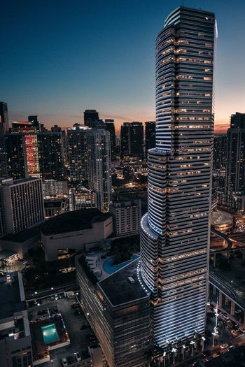 Miami sunsets Skyscraper Architecture City Building Exterior Cityscape Tall - High Built Structure Tower Modern City Life Urban Skyline Travel Destinations Outdoors Sky EyeEm Ready