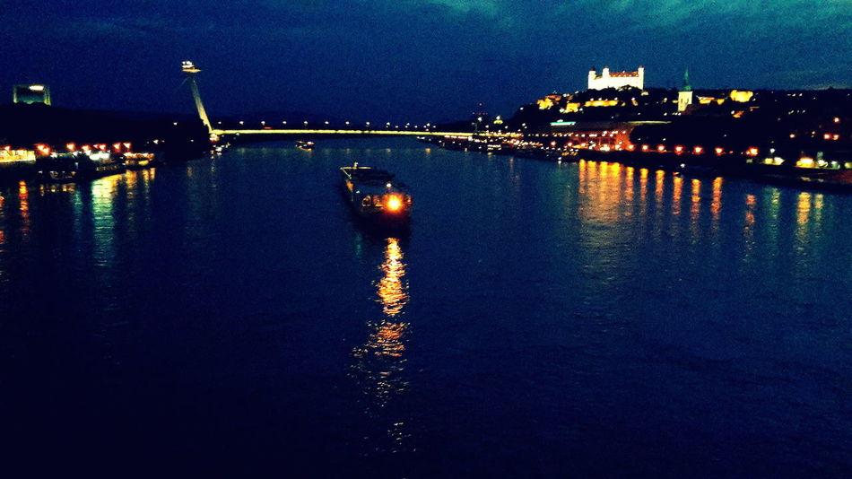 Blue Bratislava Castle Bratislava City! City Danube Donau Dunaj Lighting Equipment Night Novy Most Sky Water