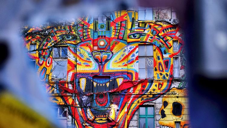 view through a keyhole, a Grafity at the otherside of the wall Art Is Everywhere Berlin Photography Art And Craft Grafitti Hausbesetzung Multi Colored Outdoors Tiger Wallpicture first eyeem photo EyeEm Ready   The Graphic City