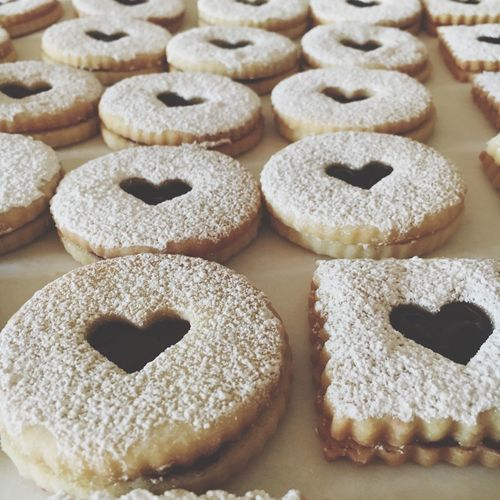 Baked and decorated heart cookies. Home Made Cookies EyeEm Selects Food Food And Drink Freshness Dessert Cookie Powdered Sugar Heart Shape Sweet