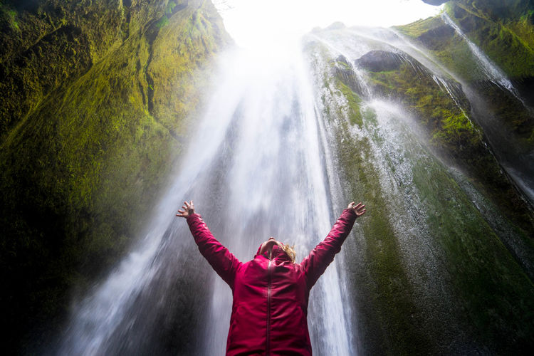 Nature Iceland Islanda Natura Water Outdoors Scenics - Nature Beauty In Nature Waterfall Arms Raised Freedom Secret Secret Places One Person Arms Outstretched Human Arm Long Exposure Casual Clothing Gljufrabui Underwater Under Reykjavik Golden Circle International Women's Day 2019